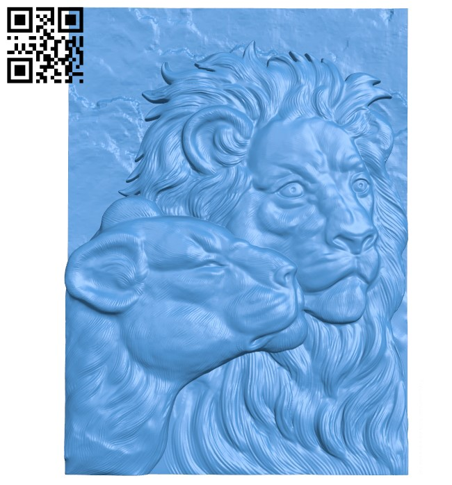 Two African lions A003810 wood carving file stl free 3d model download for CNC