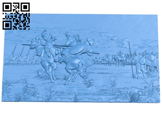 Two warriors A003819 wood carving file stl free 3d model download for CNC