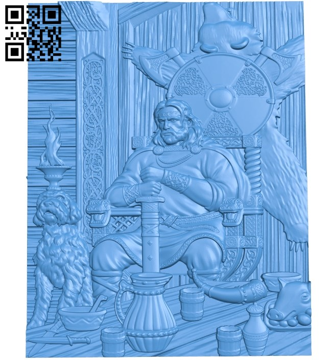 Warrior A003802 wood carving file stl free 3d model download for CNC