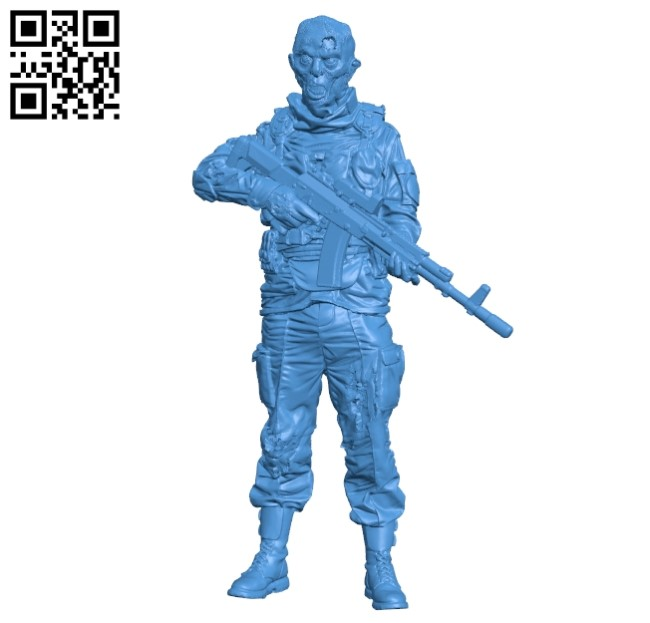 Zombie Soldier B004913 file stl free download 3D Model for CNC and 3d printer