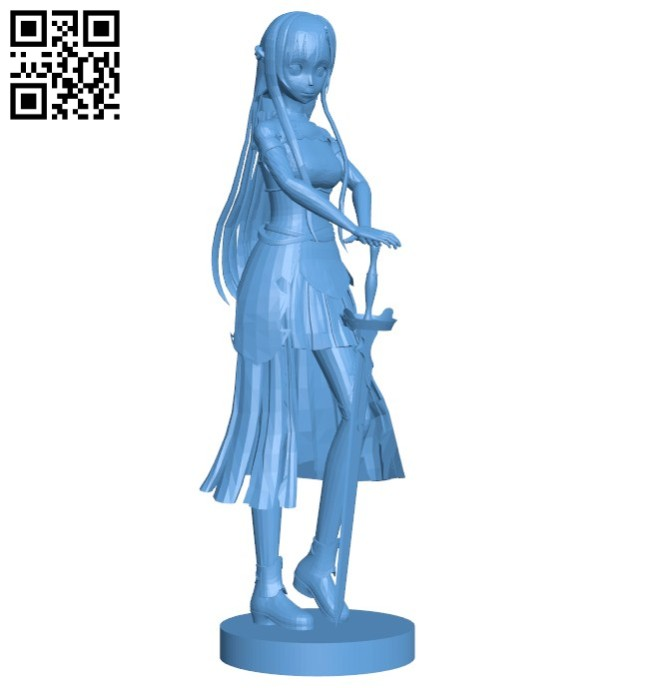 Asuna warrior woman B005743 download free stl files 3d model for 3d printer and CNC carving