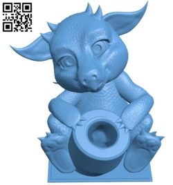 Baby dragon pen pot B005727 download free stl files 3d model for 3d printer and CNC carving