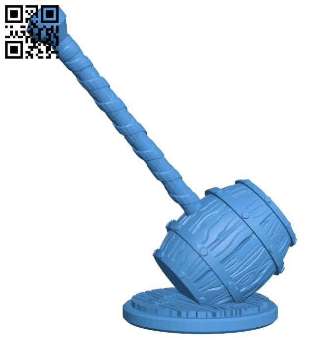 Barrel hammer B005677 download free stl files 3d model for 3d printer and CNC carving