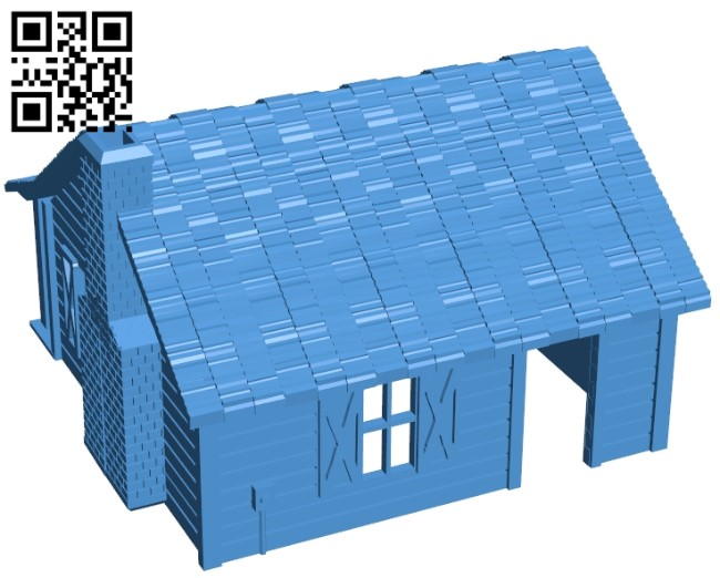 Cabin - House in the Woods B005438 file stl free download 3D Model for CNC and 3d printer