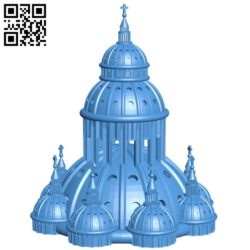 Church dome house B005619 download free stl files 3d model for 3d printer and CNC carving
