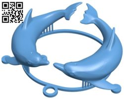 Dolphins medallion – fish B005734 download free stl files 3d model for 3d printer and CNC carving