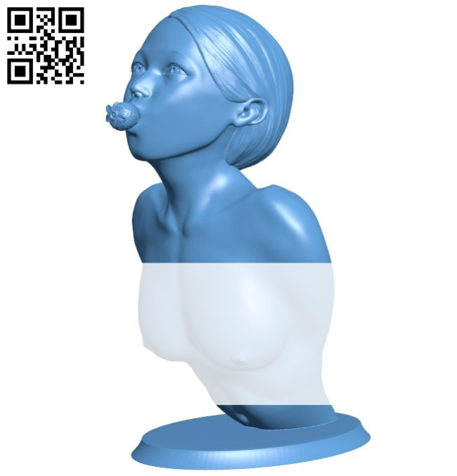 Girl eating strawberries B005764 download free stl files 3d model for 3d printer and CNC carving