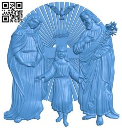Holy Family Icon A003837 wood carving file stl free 3d model download for CNC
