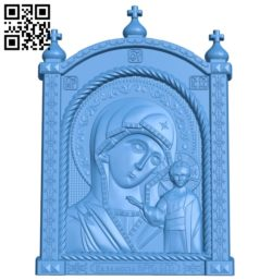 Icon Kazan Mother of God A004008 wood carving file stl free 3d model download for CNC