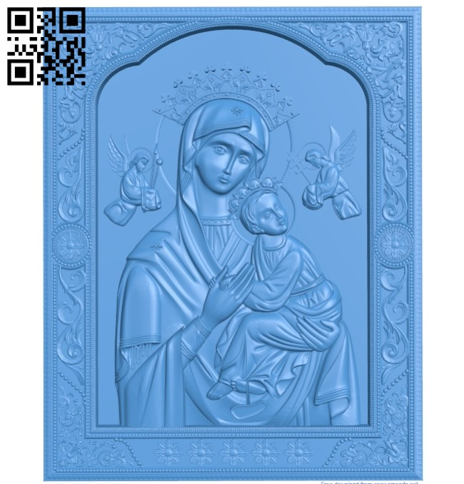 Icon Passionate icon of the Mother of God A003832 wood carving file stl free 3d model download for CNC