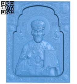 Icon of Nicholas the Wonderworker A003835 wood carving file stl free 3d model download for CNC