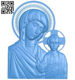Icon of Our Lady of Kazan A003843 wood carving file stl free 3d model download for CNC