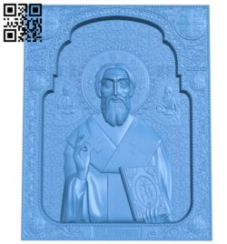 Icon of Saint Cyprian A003850 wood carving file stl free 3d model download for CNC