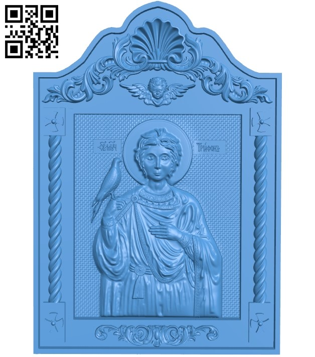 Icon of Saint Tryphon A003840 wood carving file stl free 3d model download for CNC
