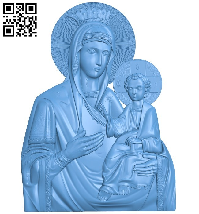 Icon of the Iberian Mother of God A004176 download free stl files 3d model for CNC wood carving