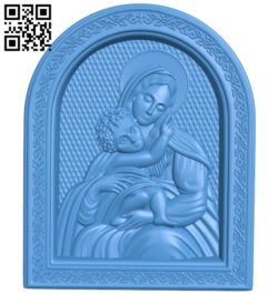 Icon of the Mother of God A003830 wood carving file stl free 3d model download for CNC