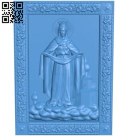 Icon of the Protection of the Holy Virgin A003829 wood carving file stl free 3d model download for CNC