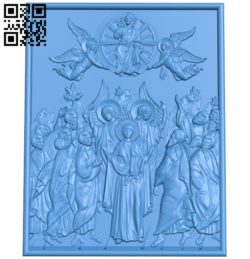 Icon of the Virgin with the Apostles A003851 wood carving file stl free 3d model download for CNC