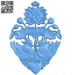 Lotus pattern design A003824 wood carving file stl free 3d model download for CNC