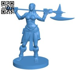 Miss Warrior with ax B005503 file stl free download 3D Model for CNC and 3d printer