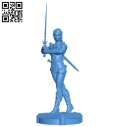 Miss ciri with sword B005369 file stl free download 3D Model for CNC and 3d printer