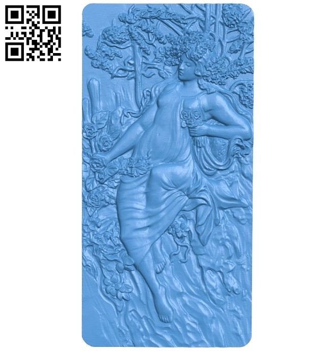 Picture Girl and autumn A004103 download free stl files 3d model for CNC wood carving