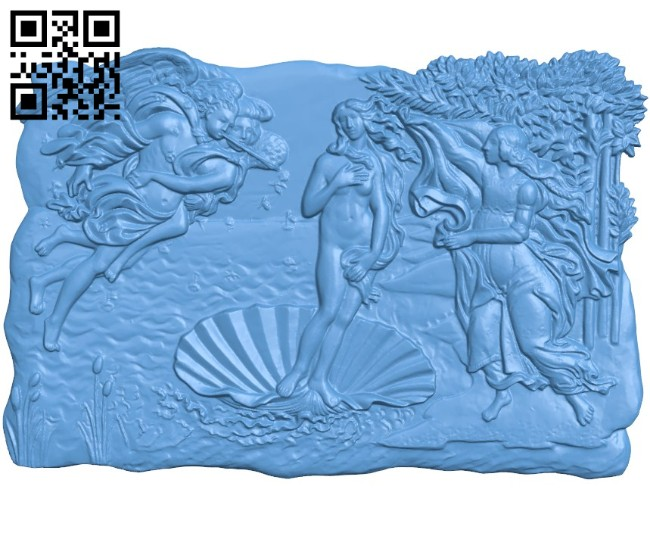 Picture The Birth of Venus A004183 download free stl files 3d model for CNC wood carving