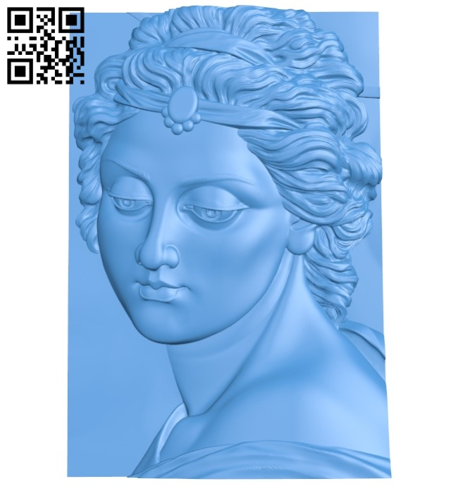 Picture byust devushki A004077 download free stl files 3d model for CNC wood carving