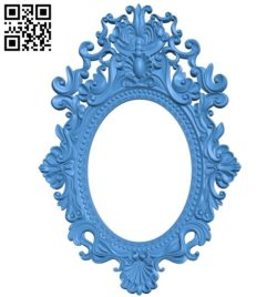 Picture frame or mirror oval A004079 download free stl files 3d model for CNC wood carving