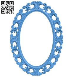 Picture frame or mirror oval A004080 download free stl files 3d model for CNC wood carving