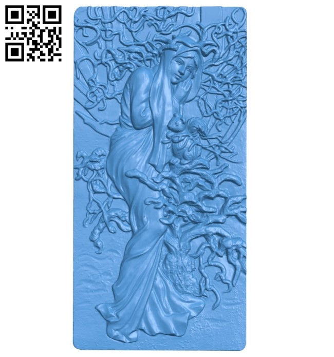 Picture girl lady winter A004104 download free stl files 3d model for CNC wood carving