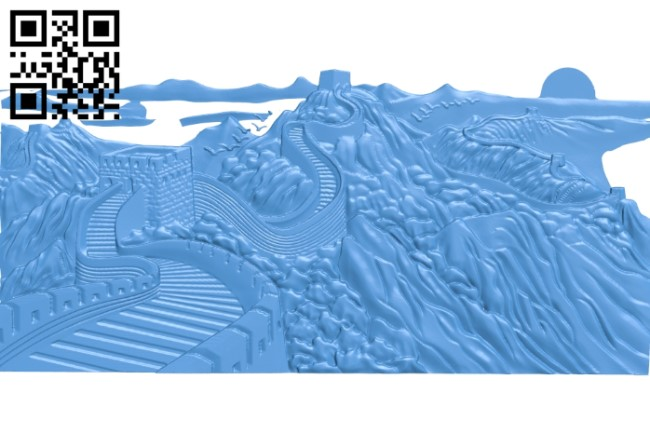 Picture great wall A004105 download free stl files 3d model for CNC wood carving