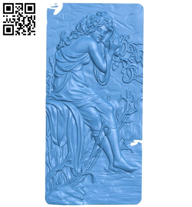 Picture summer girl by the stream A004107 download free stl files 3d model for CNC wood carving