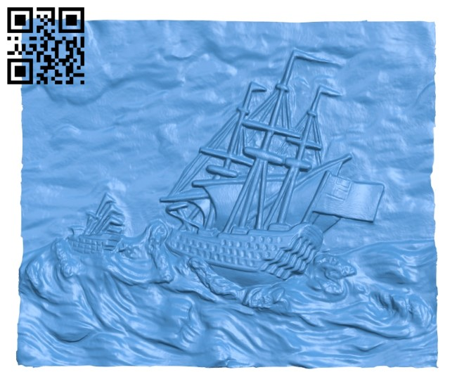 Picture the ship goes to sea A004101 download free stl files 3d model for CNC wood carving