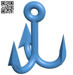 Triple hook B005675 download free stl files 3d model for 3d printer and CNC carving
