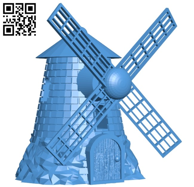 Windmill - House B005409 file stl free download 3D Model for CNC and 3d printer