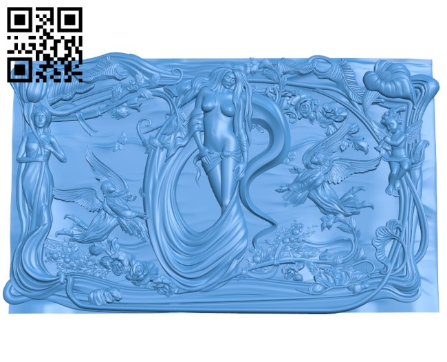 Young girl's picture in paradise A003939 wood carving file stl free 3d model download for CNC
