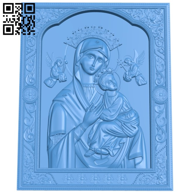 icon of the Mother of God A004007 wood carving file stl free 3d model download for CNC