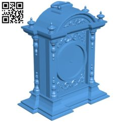 Antique Clock B005886 download free stl files 3d model for 3d printer and CNC carving