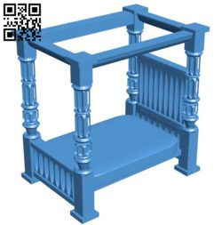 Antique bed B006223 download free stl files 3d model for 3d printer and CNC carving