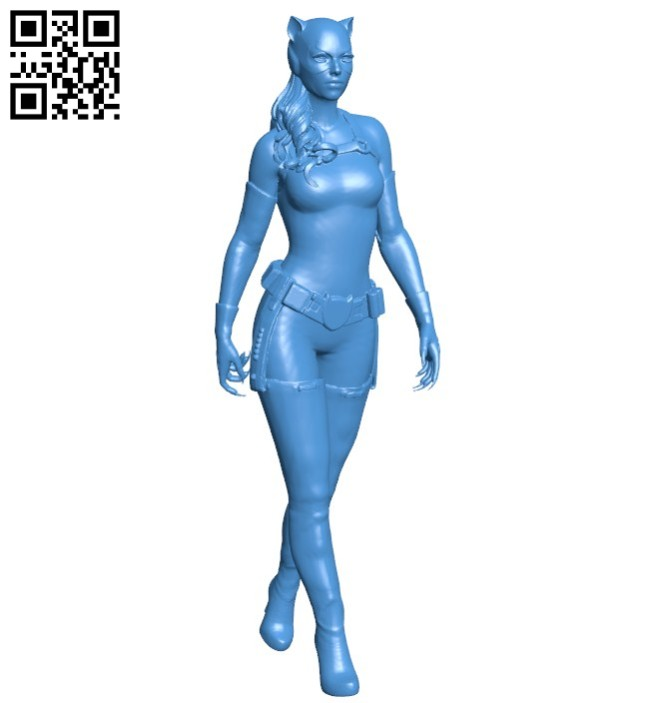 Cat woman walking B005808 download free stl files 3d model for 3d printer and CNC carving