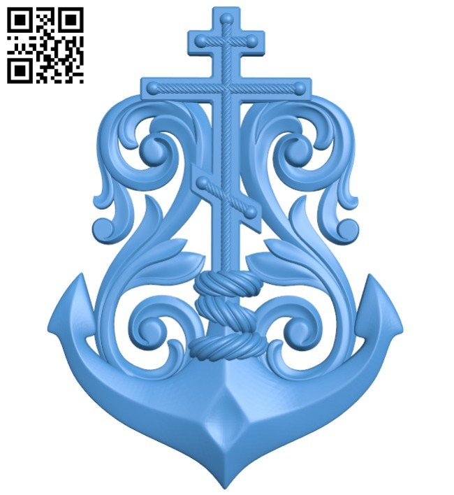 Cross and anchor pattern A004386 download free stl files 3d model for CNC wood carving