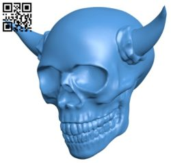 Devil skull B006066 download free stl files 3d model for 3d printer and CNC carving