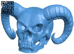 Devil skull B006107 download free stl files 3d model for 3d printer and CNC carving
