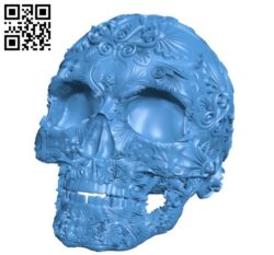 Fancy Skull B006209 download free stl files 3d model for 3d printer and CNC carving