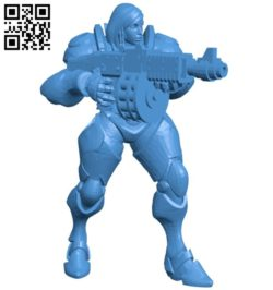 Female robot warrior B006053 download free stl files 3d model for 3d printer and CNC carving