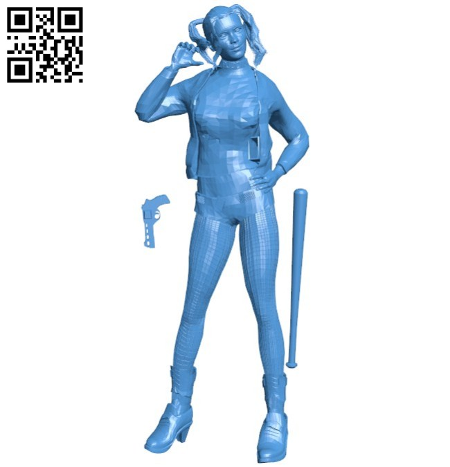 Girl holding golf club B005930 download free stl files 3d model for 3d printer and CNC carving