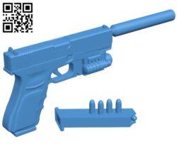 Glock 18 gun B006293 download free stl files 3d model for 3d printer and CNC carving
