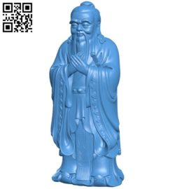 Golden statue of Confucius B006287 download free stl files 3d model for 3d printer and CNC carving