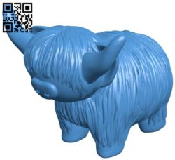 Highland cow B006001 download free stl files 3d model for 3d printer and CNC carving